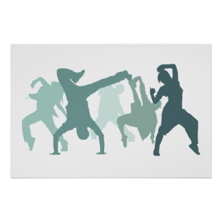Hip Hop Dancers Illustration Poster