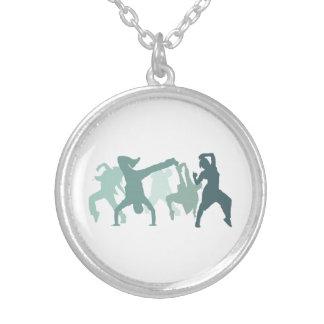 Hip Hop Dancers Illustration Silver Plated Necklace