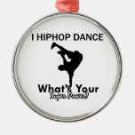 Hip Hop dancing designs Round Metal Christmas Ornament