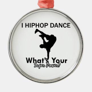 Hip Hop dancing designs Round Metal Christmas Ornament