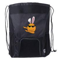 Hip Hop Emoji Egg Bunny Easter Kids Adult Drawstring Backpack