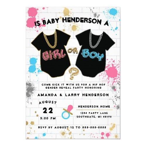 Hip Hop Gender Reveal Invitation, Boy or Girl Invitation