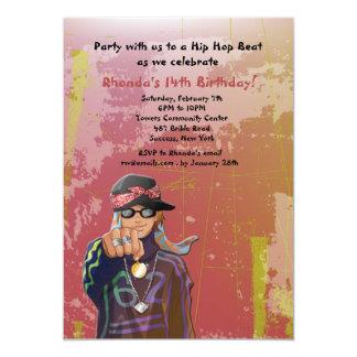 "Hip Hop Girl Birthday Party Invitation 5"" X 7"" Invitation Card"