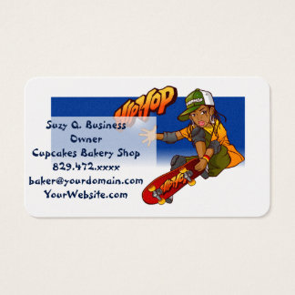 Hip Hop girl skateboard Cartoon Business Card