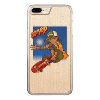 Hip Hop girl skateboard Cartoon Carved iPhone 7 Plus Case