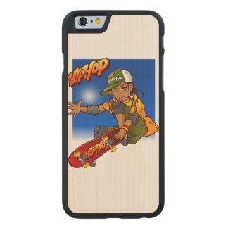 Hip Hop girl skateboard Cartoon Carved Maple iPhone 6 Slim Case