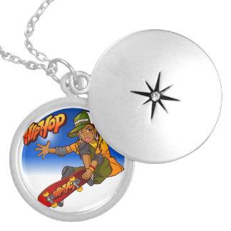 Hip Hop girl skateboard Cartoon Silver Plated Necklace