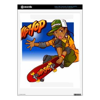 Hip Hop girl skateboard Cartoon Skin For Xbox 360 Console