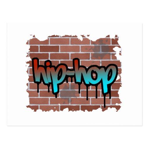 hip hop graffiti  design postcard