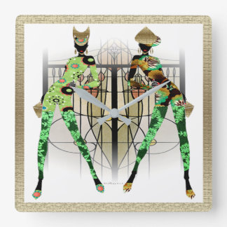Hip Hop Jungle Fashion Square Wall Clock