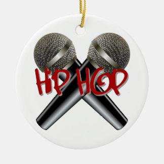Hip Hop - mc rap dj rap turntable mic graffiti r&b Double-Sided Ceramic Round Christmas Ornament