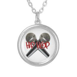 Hip Hop - mc rap dj rap turntable mic graffiti r&b Silver Plated Necklace