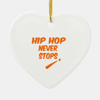 Hip Hop Never Stops Double-Sided Heart Ceramic Christmas Ornament