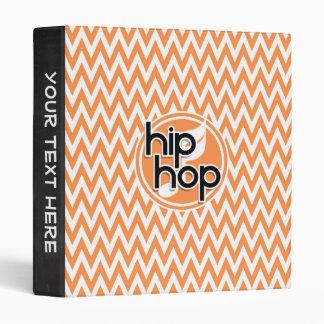 Hip Hop; Orange and White Chevron Binder