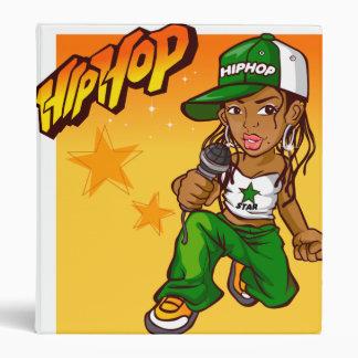 hip hop rapper girl green orange cartoon 3 ring binder