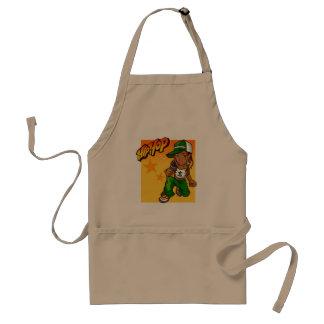 hip hop rapper girl green orange cartoon adult apron