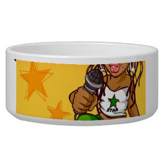 hip hop rapper girl green orange cartoon bowl