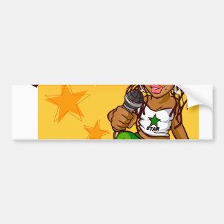 hip hop rapper girl green orange cartoon bumper sticker
