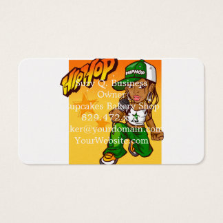 hip hop rapper girl green orange cartoon business card