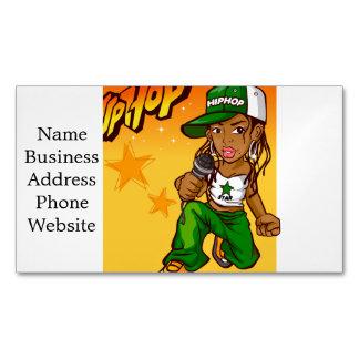 hip hop rapper girl green orange cartoon business card magnet