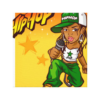 hip hop rapper girl green orange cartoon canvas print
