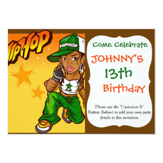 hip hop rapper girl green orange cartoon card