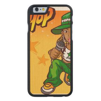 hip hop rapper girl green orange cartoon carved maple iPhone 6 case