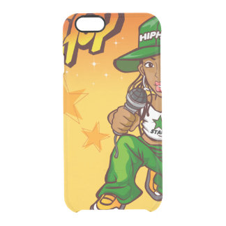 hip hop rapper girl green orange cartoon clear iPhone 6/6S case