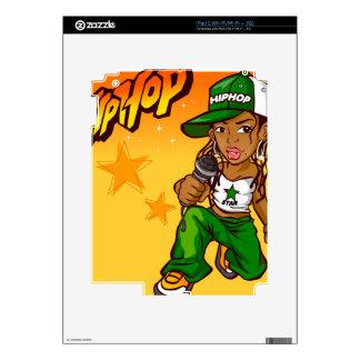 hip hop rapper girl green orange cartoon iPad 2 decals