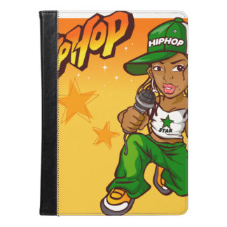 hip hop rapper girl green orange cartoon iPad air case