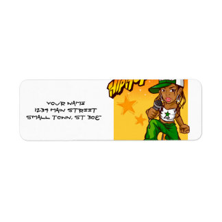 hip hop rapper girl green orange cartoon label