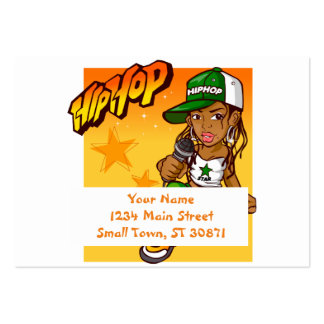 hip hop rapper girl green orange cartoon large business card