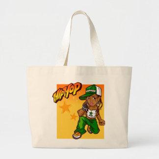 hip hop rapper girl green orange cartoon large tote bag