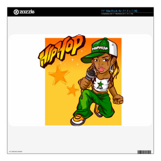 hip hop rapper girl green orange cartoon MacBook air skins