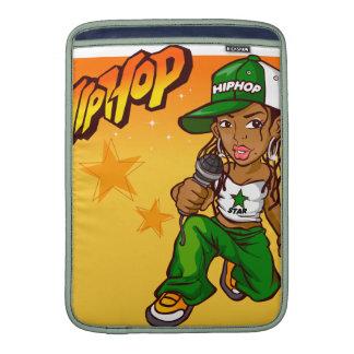 hip hop rapper girl green orange cartoon MacBook sleeve