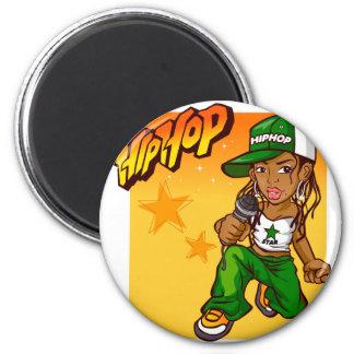hip hop rapper girl green orange cartoon magnet