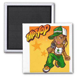 hip hop rapper girl green orange cartoon magnet