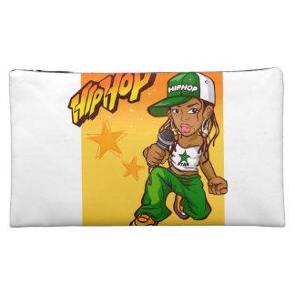 hip hop rapper girl green orange cartoon makeup bag