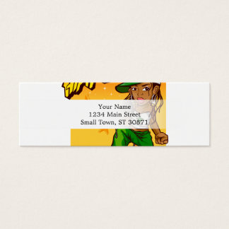 hip hop rapper girl green orange cartoon mini business card