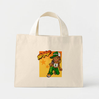 hip hop rapper girl green orange cartoon mini tote bag