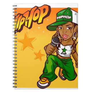hip hop rapper girl green orange cartoon notebook