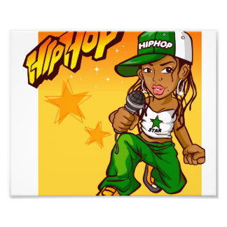 hip hop rapper girl green orange cartoon photo print