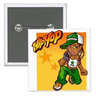 hip hop rapper girl green orange cartoon pinback button