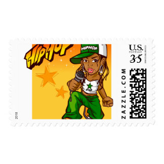 hip hop rapper girl green orange cartoon postage