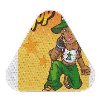 hip hop rapper girl green orange cartoon speaker