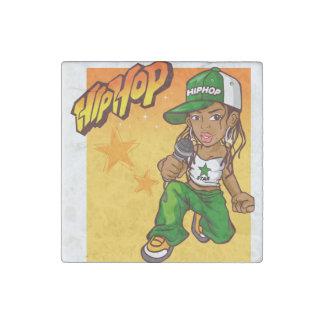 hip hop rapper girl green orange cartoon stone magnet