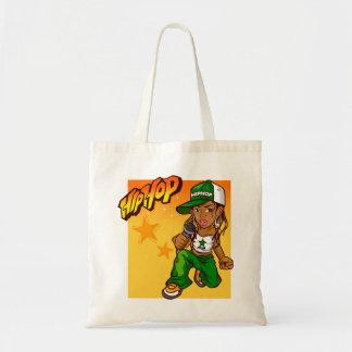 hip hop rapper girl green orange cartoon tote bag