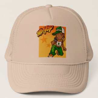 hip hop rapper girl green orange cartoon trucker hat