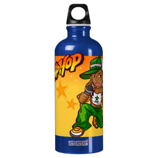 hip hop rapper girl green orange cartoon water bottle