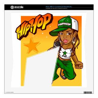 hip hop rapper girl green orange cartoon xbox 360 s console skin